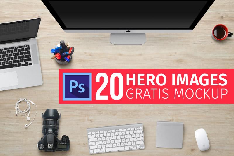 20 Hero Images + MockUp PSD Gratis